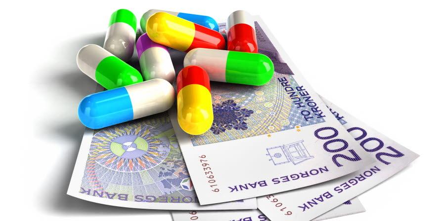 Illustrasjon av norske sedler og legemidler